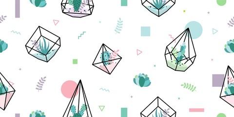 terrarium succulent cactus seamless pattern geometric glass interior flower plant background wallpaper