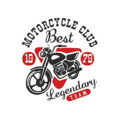Motorcycle club logo, best legendary team, design element for motor or biker club, motorcycle repair shop, print for clothing vector Illustration on a white background