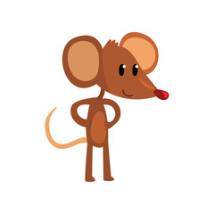 Cute brown mouse standing on two legs with hands on its waist, funny rodent character cartoon vector Illustration on a white background