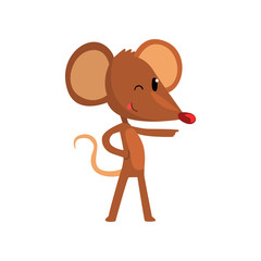 Cute brown mouse pointing, funny rodent character cartoon vector Illustration on a white background