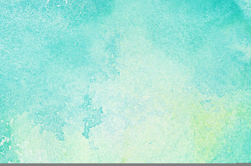 Abstract light blue watercolor background, painted on watercolor paper
