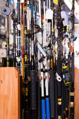 stand with colorful fishing rods in the sports shop