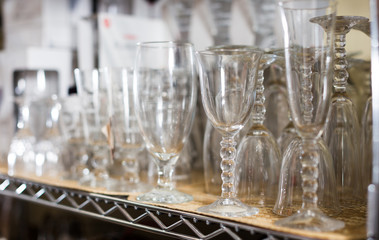 collection of crystal glasses for wine