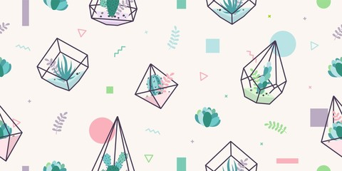 terrarium succulent cactus seamless pattern geometric glass interior flower plant background wallpaper