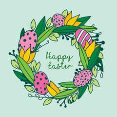 Greetings easter card, hand painted, made in vector.