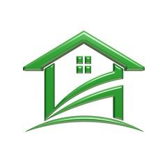 Green House. 3D Rendering Illustration