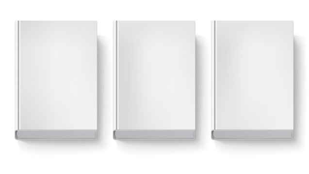 Book cover isolated on white background. Three blank books without text and drawings, top view with shadows. 3D illustration, object for design and branding.