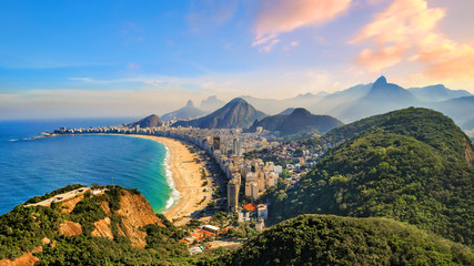 Photo sur Aluminium Brésil Copacabana Beach and Ipanema beach in Rio de Janeiro, Brazil