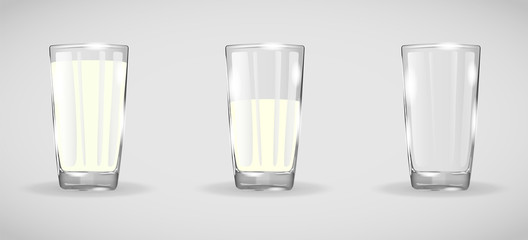 Realistic glass beaker. Set of three glasses. Glass with milk. Glassware with drinks. Drinking glass isolated vector illustration. Full and empty glass. Glassware with shadows and highlights AI10