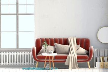 Modern interior with window and sofa. Wall mock up. 3d illustration.