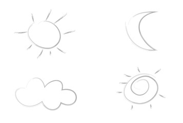 Grunge sun, moon and cloud, black marker isolated on white background