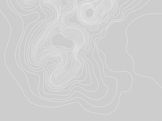 Abstract gray and white topographic contours lines of mountains. Topography map art curve drawing. vector illustration. Wall mural