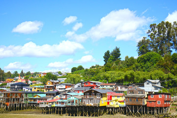Colourful Palafito houses on stilts in Castro, Chiloe Island, Patagonia, Chile