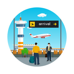 Icon , View of a Flying Airplane through the Window from a Waiting Room at the Airport , Scoreboard Arrivals at Airport, Air Travel Concept , Vector Illustration