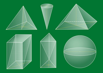 3d basic shapes. Prism, pyramid, cone, sphere. Cross-section.