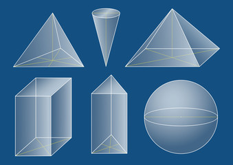 3d basic shapes. Prism, pyramid, cone, sphere.