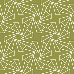 Olive green and white geometric print. Seamless pattern