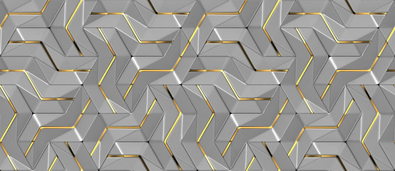 3d grey wall tiles with gold metal decor