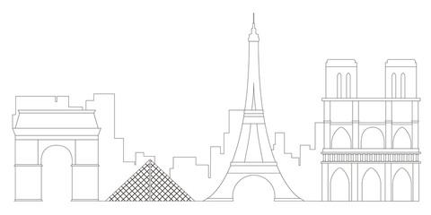 Paris cityscape outline