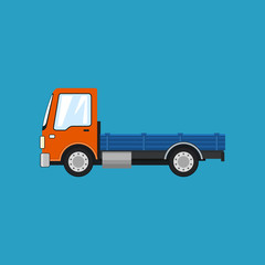 Orange Mini Lorry without Load Isolated on a Blue Background, Delivery Services, Logistics, Shipping and Freight of Goods, Vector Illustration