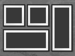 Frames wall gallery grey grunge background mock up vector
