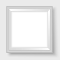 Picture frame on the wall square realistic vector light grey