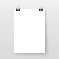 Poster on binder clips simple mock up set white
