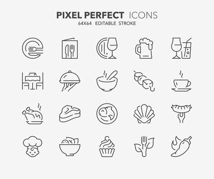 menu restaurant thin line icons