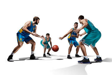 four basketball players in game isolated on white