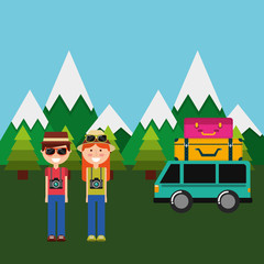 happy couple tourist vacation mountains van suitcasses vector illustration