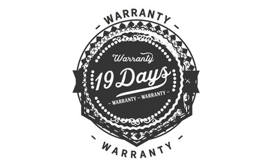 19 days warranty icon vintage rubber stamp guarantee