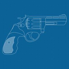Revolver. Outline drawing on blueprint background