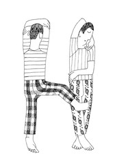 Letter H: Sleeping Couple