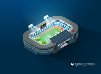 football soccer stadium isometric night