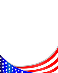 USA flag wave pattern frame with empty space for text.