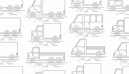 Delivery Van seamless pattern. line icon