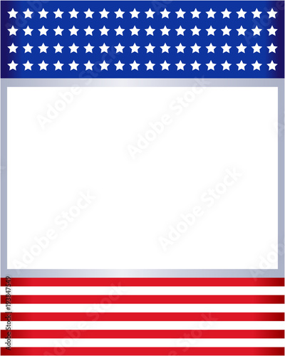 American flag frame with empty space for text.\
