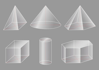 3d basic shapes. Prism, cube, pyramid, cone, cylinder.
