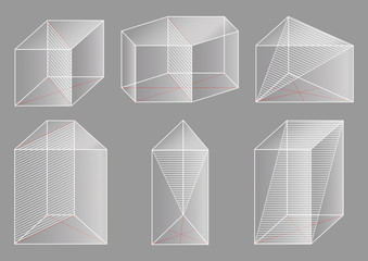 3d basic shapes. Prism. Cross-section.