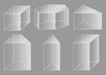 3d geometric shapes. Collection of prisms.