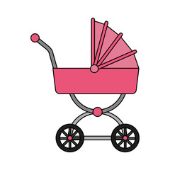 pink baby carriage icon vector illustration graphic design
