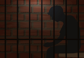 Inmate sitting in jail vector illustration background