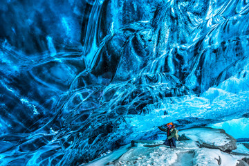 Traveler in the ice cave