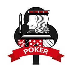 king of club card poker ribbon symbol vector illustration