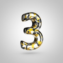 Camouflage number 3 with golden, silver and black camouflage pattern isolated on white background.