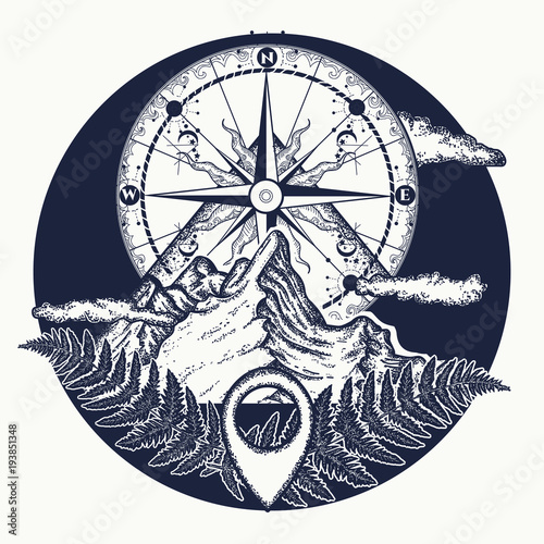 98192c400a760 Mountain top and vintage compass tattoo and t-shirt design. Mountains and compass  tattoo. Symbol of tourism, rock climbing, camping