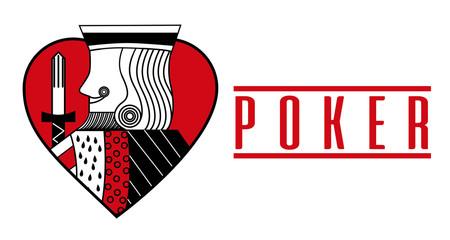 casino card heart king red poker game banner vector illustration