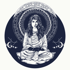 Woman meditation tattoo art. Meditating woman and crystal sphere t-shirt design. Girl in lotus pose. Symbol meditation, philosophy, astrology, magic, yoga