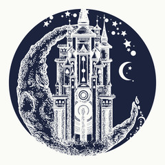 Medieval castle on the moon tattoo vector. Symbol of the fairy tale, dream, magic. Medieval castle t-shirt design