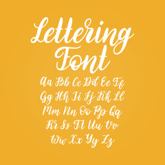 Vector hand lettering alphabet. Calligraphy font letters